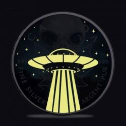 CANADA MAPLE LEAF ALIEN UFO GLOW IN THE DARK 5 DOLLARS 1 OZ