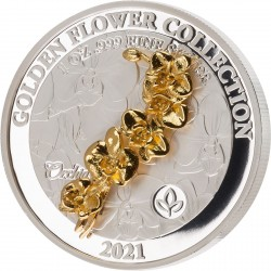 GOLDEN FLOWER COLLECTION - ORCHID 1 OZ SILVER COIN 2021 SAMOA