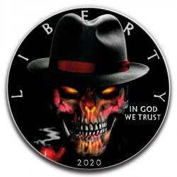 GANGSTER SKULL AMERICAN SILVER EAGLE 1 Oz 2020 1 DOLLAR