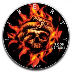 BURNING SKULL AND SNAKE AMERICAN SILVER EAGLE 1 Oz 2020 1 DOLLAR