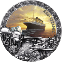 TITANIC GRAND SHIPWRECKS IN A HISTORY 2 OZ NIUE 2020 5 DOLLARS SILVER COIN