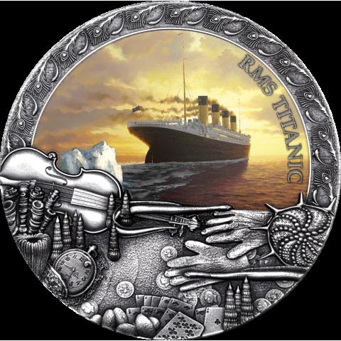 TITANIC GRAND SHIPWRECKS IN A HISTORY 2 OZ NIUE 2020 5 DOLLARS SILVER COIN