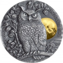 LONG-EARED OWL WILDLIFE IN THE MOONLIGHT 2 OZ 5 DOLLARS SILVER COIN NIUE 2019