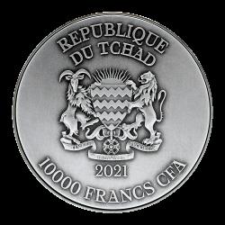 BLACKBEARD COPPER II 2 OZ 2021 REPUBLIQUE DU TCHAD 10000 FRANCS