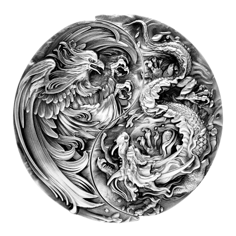 CHINESE DRAGON / PHOENIX 2 x 2 Oz AG + 11,5 OZ Cu 10 FRANCS CFA REPUBLIQUE DU TCHAD
