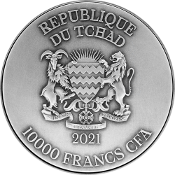 AO SHUN BLACK DRAGON 2 OZ SILVER + 11,5 OZ CU REPUBLIQUE DU TCHAD 10000 FRANCS 2021
