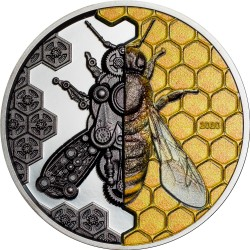 MECHANICAL BEE CLOCKWORLD EVOLUTION 3 OZ 2020 MONGOLIA 2000 TOGROG SILVER COIN