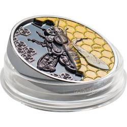 MECHANICAL BEE CLOCKWORLD EVOLUTION 3 OZ 2020 MONGOLIA 2000 TOGROG SILVER COIN