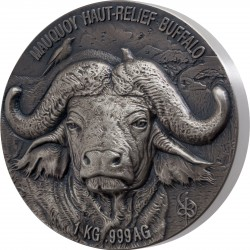 WATER BUFFALO BIG FIVE MAUQUOY SILVER COIN 1 KG IVORY COAST 2021