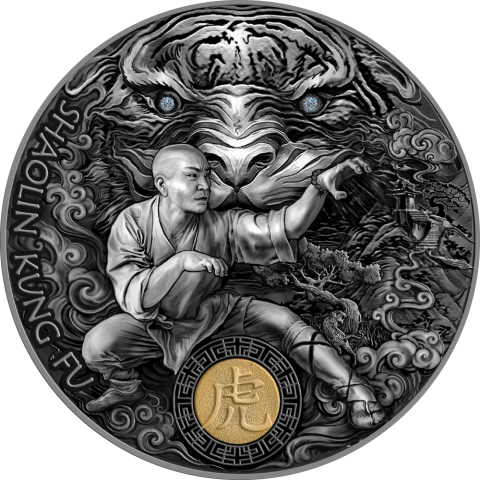SHAOLIN TIGER MARTIAL ARTS STYLES 2021 NIUE 2 OZ SILVER COIN SWAROVSKI CRYSTAL
