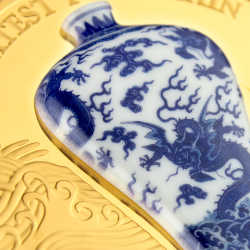 CHINESE DRAGON VASE 2021 GHANA 2 OZ SILVER COIN GREATEST PORCELAIN GOLD PLATED