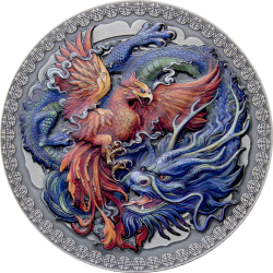 PHOENIX AND DRAGON 2021 GHANA 50G ORIENTAL CULTURE COLLECTION SILVER COIN 10 CEDIS DIGITAL PRINTING