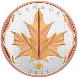 MAPLE LEAVES IN MOTION 5 OZ 50 DOLLARS CANADA 2021 SILVER COIN YELLOW AND RED GOLD PLATED