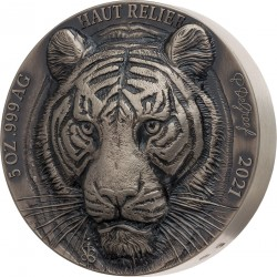 TIGER BIG FIVE OF ASIA DE GREEF 5 OZ 5000 FRANCS IVORY COAST REPUBLIQUE DE COTE D'IVOIRE