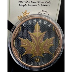 MAPLE LEAF IN MOTION 5 OZ 50 DOLLARS CANADA 2021 SILVER COIN YELLOW AND RED GOLD PLATED