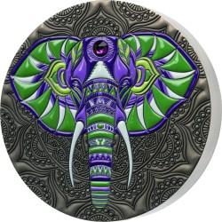 ELEPHANT MANDALA ART 1 KG 1000 CEDIS GHANA 2021 SILVER COIN