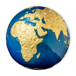 BLUE MARBLE AT NIGHT PLANET EARTH GOLD PLATED 3 OZ 5 DOLLARS BARBADOS 2021