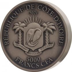 TIGER BIG FIVE OF ASIA DE GREEF 5 OZ 5000 FRANCS IVORY COAST REPUBLIQUE DE COTE D'IVOIRE