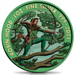 ROBIN HOOD SPACE GREEN 1 OZ 2 POUNDS SILVER COIN UNITED KINGDOM 2021