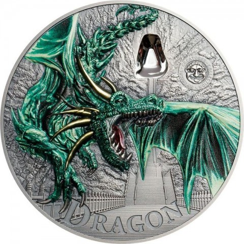GREEN DRAGON MYTHICAL CREATURES SILVER COIN 2 OZ 10 DOLLARS PALAU 2019