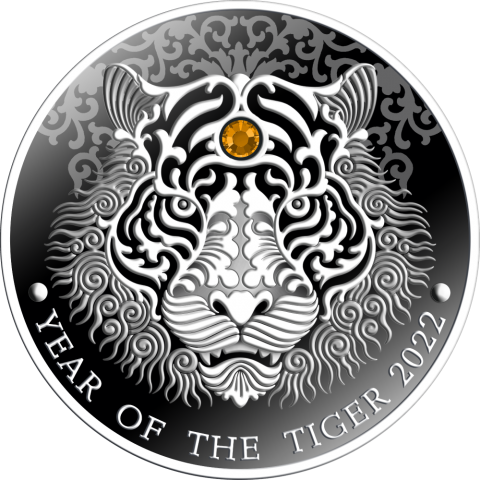 YEAR OF THE TIGER 1/2 OZ 2 CEDIS REPUBLIQUE OF GHANA 2021