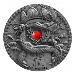 CHINESEE DRAGON NIUE 2018 2 OZ 2 DOLLARS SILVER COIN