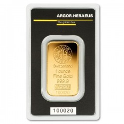 GOLD BAR 1 OZ ARGOR-HERAEUS FINE GOLD .999 31,1