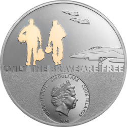 FIGHTER PILOT REAL HEROES 5 OZ GOLD 500 DOLLARS COOK ISLANDS 2020