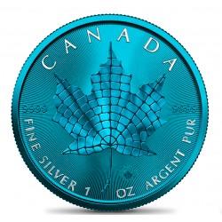 MAPLE LEAF MOSAIC SPACE BLUE EDITION 1 OZ 5 DOLLARS CANADA 2021
