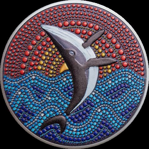 ORCA WHALE DOT ART SERIES BLACKPROOF 20 DOLLARS 3 OZ PALAU 2021