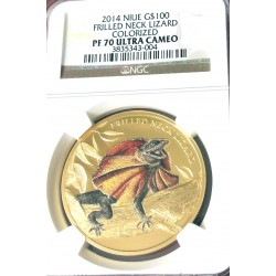 FRILLED NECK LIZZARD NIUE 2014 1 OZ GOLD NGC PF 70 ULTRA CAMEO