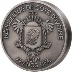 RHINOCEROS BIG FIVE 2019 5 OZ 1000 FRANCS SILVER COIN
