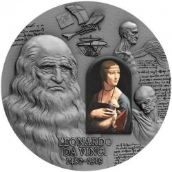 LEONARDO DA VINCI 500TH ANNIVERSARY OF LEONARDO DA VINCI'S DEATH 2000 CFA FRANCS 2 OZ REPUBLIC OF CAMEROON 2019
