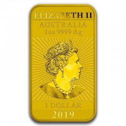 Australian Silver Dragon Colorized Gold Gilded Rectangle Coin-Bar 2019 1 Oz