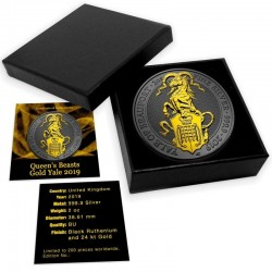 UK SILVER QUEEN'S BEASTS YALE OF BEAUFORT BLACK RUTHENIUM GOLD GILDED 2019 2 OZ