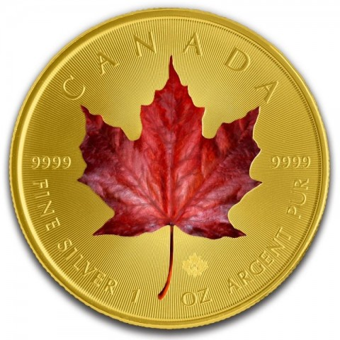 CANADIAN SILVER RED MAPLE COLORIZED GOLD GILDED 1 OZ 2019