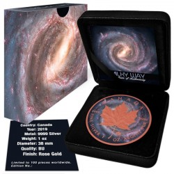 CANADA MILKY WAY ROSE GOLD GILDED SILVER COIN 5 DOLLARS 1 OZ 2019