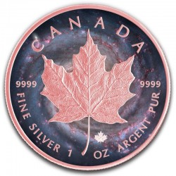 CANADA MILKY WAY ROSE GOLD MAPLE LEAF SILVER COIN 5 DOLLARS 1 OZ 2019