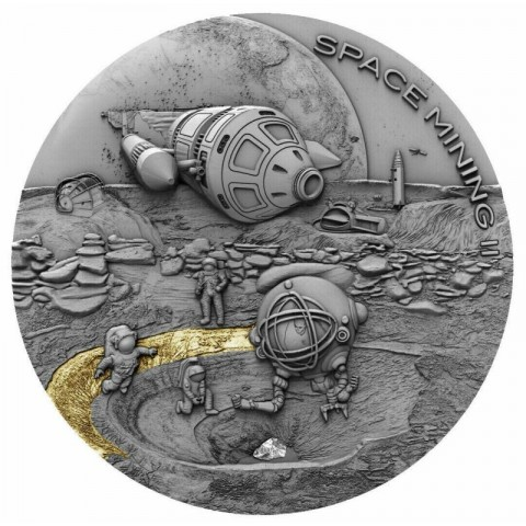 SPACE MINING II NIUE 2019 1 OZ SILVER COIN 1 DOLLAR
