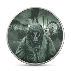 CHERNOBYL LIQUIDATORS GLOW IN THE DARK 1 HRYVNIA 1 OZ UKRAINE 2019