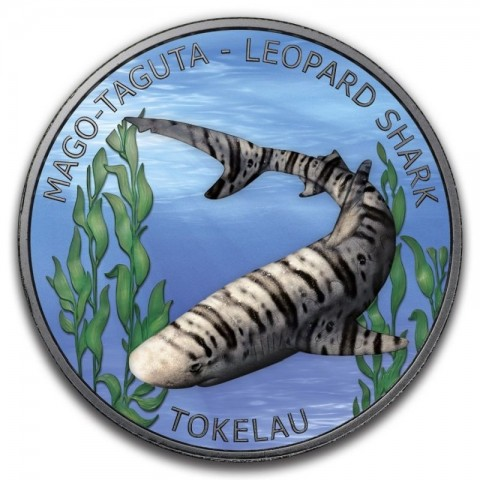 LEOPARD SHARK RUTHENIUM PLATING COLORIZED SILVER COIN TOKEALU 1 OZ 5 DOLLARS 2018
