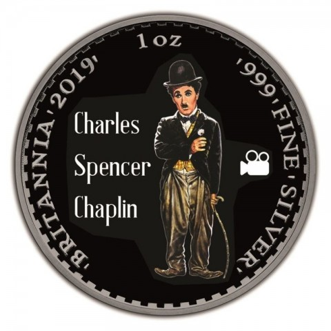 CHARLIE CHAPLIN UNITED KINGDOM BRITANNIA RUTHENIUM PLATING COLORIZED SILVER COIN 1 OZ 2 POUNDS 2019