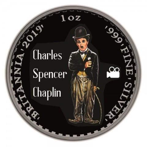 CHARLIE CHAPLIN UNITED KINGDOM BRITANNIA RUTHENIUM PLATING COLORIZED SILVER COIN 1 OZ 2 POUNDS 2019
