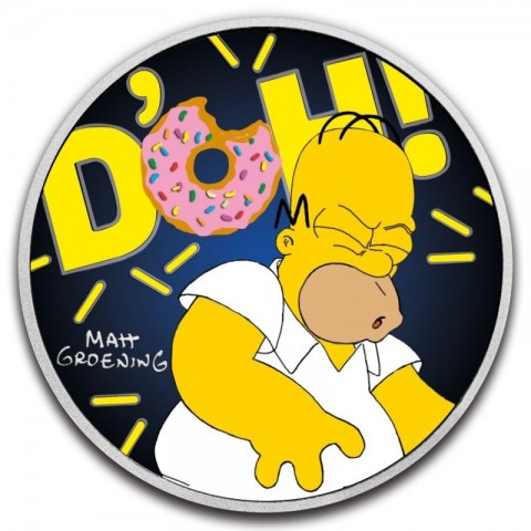 HOMER SIMPSON COLORIZED SILVER COIN 1 OZ 1 DOLLAR TUVALU 2019