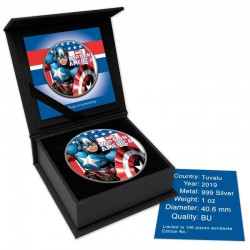 CAPTAIN AMERICA MARVEL SERIES COLORIZED SILVER COIN 1 OZ 1 DOLLAR TUVALU 2019
