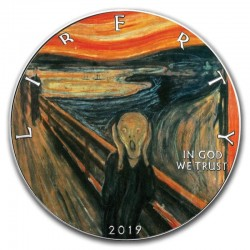 EDVARD MUNCH THE SCREAM AMERICAN EAGLE COLORIZED SILVER COIN 1 DOLLAR 1 OZ 2019