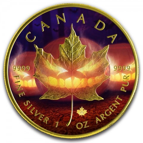 HALLOWEEN 24K GOLD GILDED COLORIZED MAPLE LEAF 5 DOLLARS 1 OZ 2019