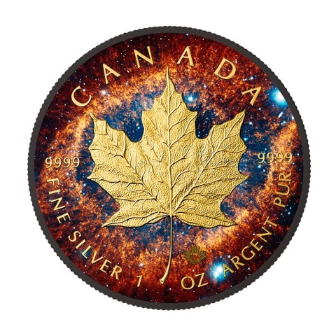 HELIX NEBULA RUTHENIUM PLATED COLORIZED MAPLE LEAF SILVER COIN 5 DOLLARS 1 OZ 2016