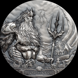 POSEIDON 3 OZ COOK ISLANDS 2019 20 DOLLARS GODS OF THE WORLD