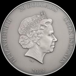 POSEIDON 3 OZ COOK ISLANDS 2019 20 DOLLARS GODS OF THE WORLD